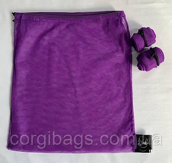 Экомешочки для продуктов, многоразовые мешочки из сетки, размер М (27х30), фиолетовый