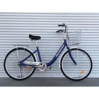 Двухколесный велосипед 28 дюйма с корзиной и багажником TopRider 810 фиолетовый