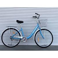 Двухколесный велосипед 28 дюйма с корзиной и багажником TopRider 810 лиловый