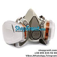 Респиратор, полумаска 3м 6200 с фильтрами 6051 A1 + предфильтр с держателем 501 для защиты органов дыхания