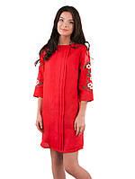 Красное льняное платье с вышивкой на рукавах (XS-3XL)