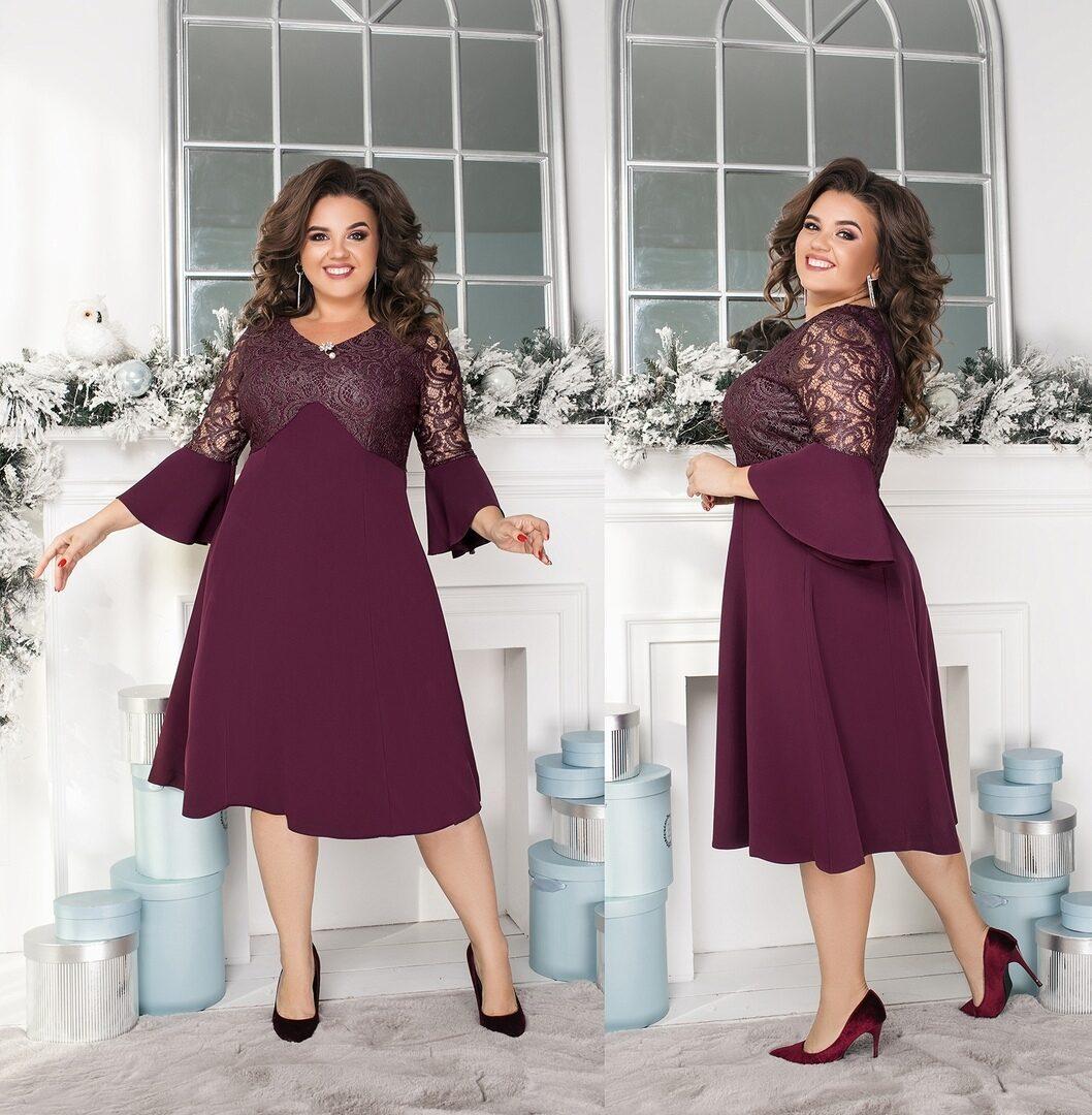 """Великолепное женское платье, ткань """"Костюмная"""" со вставками гипюра 54 размер батал"""