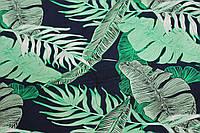 Тканина лен вискозний, натуральний, легкій. № 852 фон синій насичений.