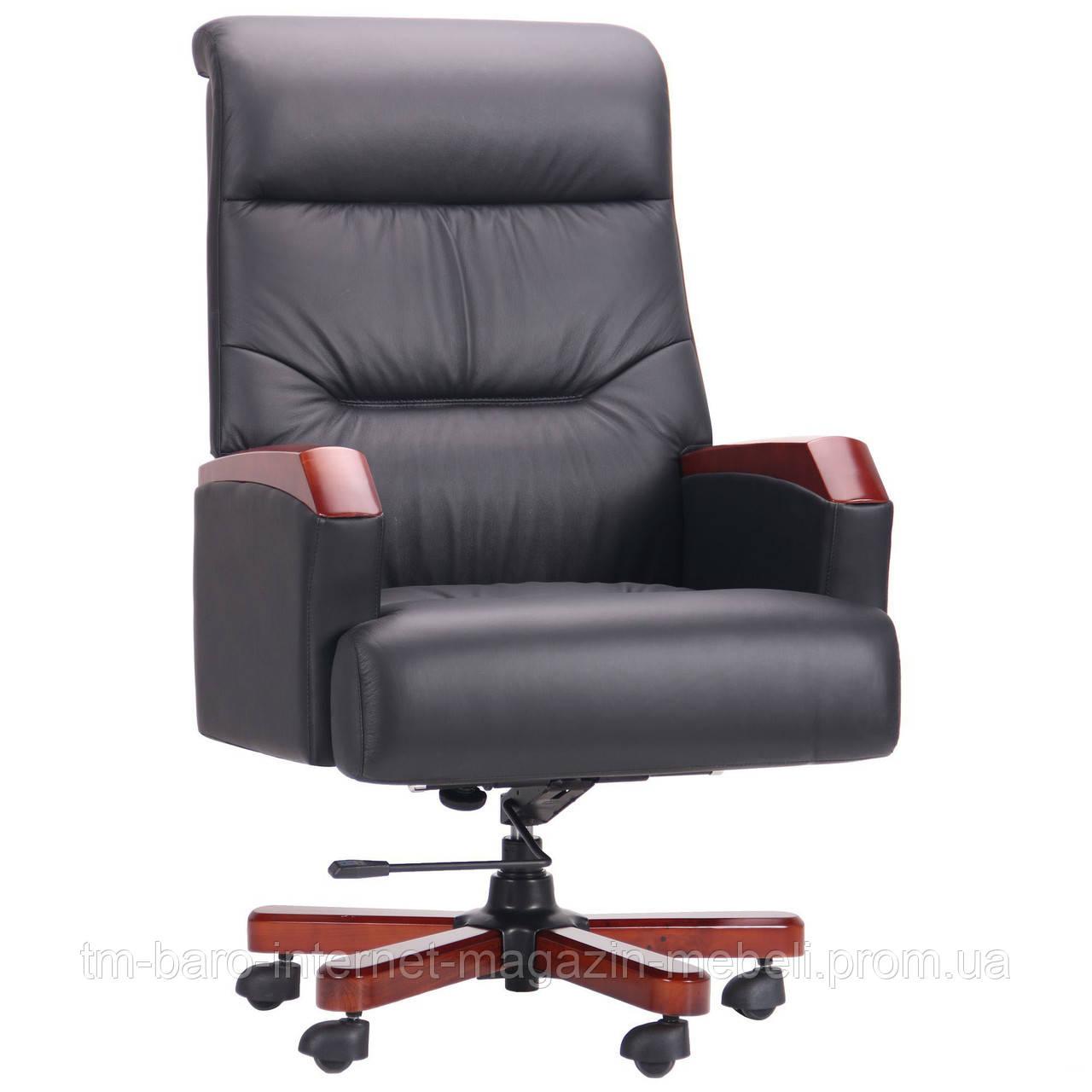 Кресло Ronald Black (Роналд) черный, кожа комбинированная, Бесплатная доставка