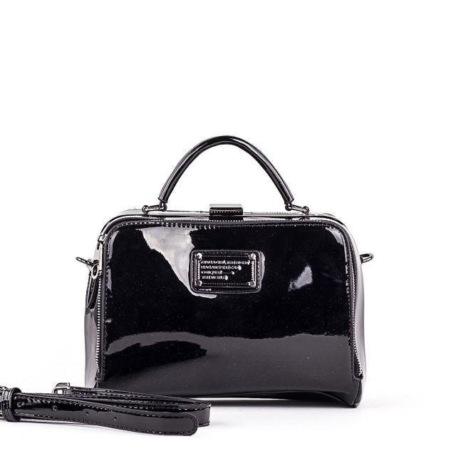 Стильная женская сумка PRIMA G2332 GLOSS BLACK LAK  /// lblack LAK