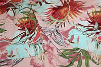 Тканина лен вискозний, натуральний, легкій. № 853 фон рожевий, яскраво тропічний., фото 1