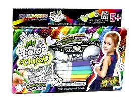 """Набор для творчества """"My Color Clutch"""", 3 в 1: клатч пенал раскраска Котята"""