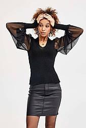 Модный джемпер с эффектным воланом «Блузон»,  42-48
