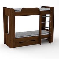 Кровать с матрасами двухъярусная Твикс-2 орех экко
