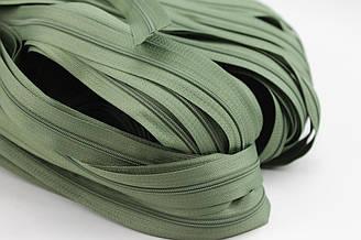 Молния рулонная зеленого цвета, Т3 (метражом и оптом) №145