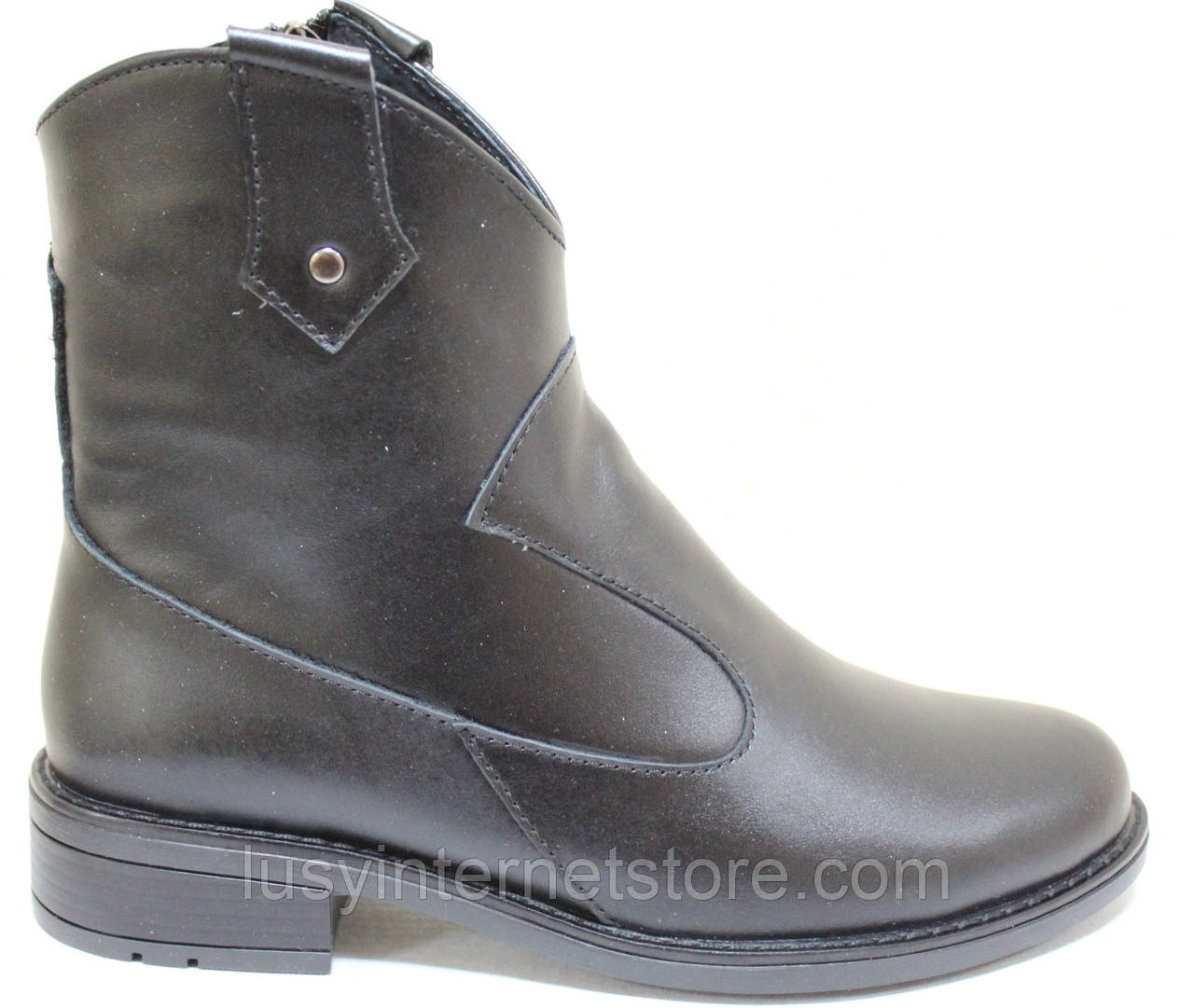 Ботинки черные кожаные женские демисезонные от производителя модель СА217-1