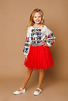 Детская молочная льняная вышиванка для девочки с вышивкой Мальованка Piccolo L