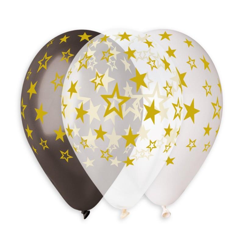 """Латексна кулька чорна з малюнком зірка золотий 12"""" 30см Gemar"""