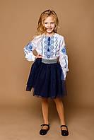 Детская белая вышиванка для девочки с синей вышивкой Подолянка Piccolo L