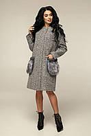 / Размер 44,46,48,50 / Женское демисезонное пальто прямого силуэта / В-1064 Bouclet Alpaca AGU