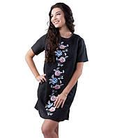 Черное платье-вышиванка льняное (размеры XS-2XL)