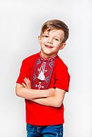 Футболка вышиванка красная для мальчика с серым орнаментом Олесь Piccolo L