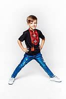 Футболка вышиванка черная для мальчика с красным орнаментом Олесь Piccolo L