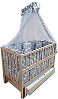 """Акция! Комплект """"Малыш Эко"""": кроватка маятник Малыш без лака с ящиком, матрас кокос, постель 8 эл."""