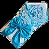 Одеяло-конверт на выписку для новорожденных Солодкий Сон с кружевом 80х100 см. Бирюзовый