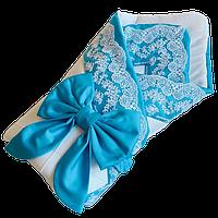 Одеяло-конверт на выписку для новорожденных Солодкий Сон с кружевом 80х100 см. Бирюзовый, фото 1