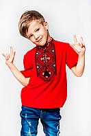 Футболка вышиванка красная для мальчика с черным орнаментом Олесь Piccolo L