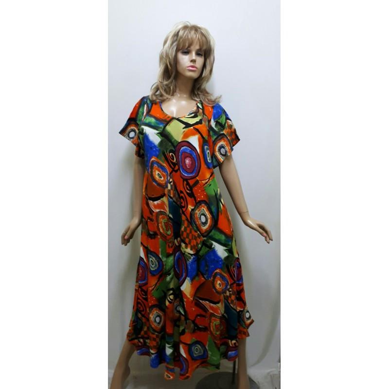 Платье штапельное с коротким рукавом, размер от 54 до 64
