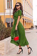 Летнее платье миди на запах с завязкой на талии в гороховый принт (Норма)