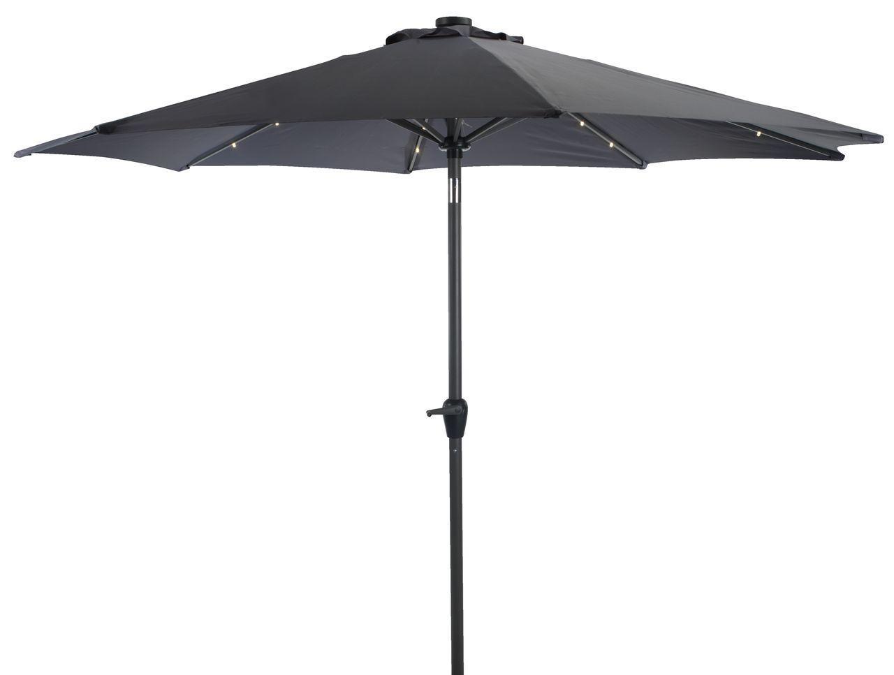 Зонт пляжный и садовый от солнца 300см серый с подстветкой с углом наклона