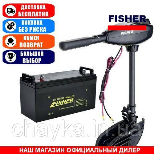 Электромотор для лодки Fisher 32lbs +Аккумулятор 65a/h GEL. Комплект; (Лодочный электромотор Фишер 32);
