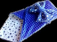 Плюшевий пледик-конвертик на виписку з бантом, фото 1