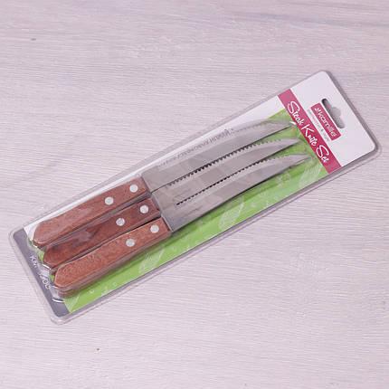 Набор стейковых ножей Kamille 6 предметов из нержавеющей стали с деревянными ручками, фото 2