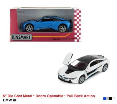 """Модель легковая 5"""" KT5379W BMW I8 метал.инерц.откр.дв. 1:36 кор.ш.к./96/"""