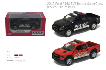 "Модель джип 5"" KT5365WPR FORD F-150 SVT RAPTOR SUPERCREW (2013) полиц/пожарн.метал.инерц.откр.дв.1:4"