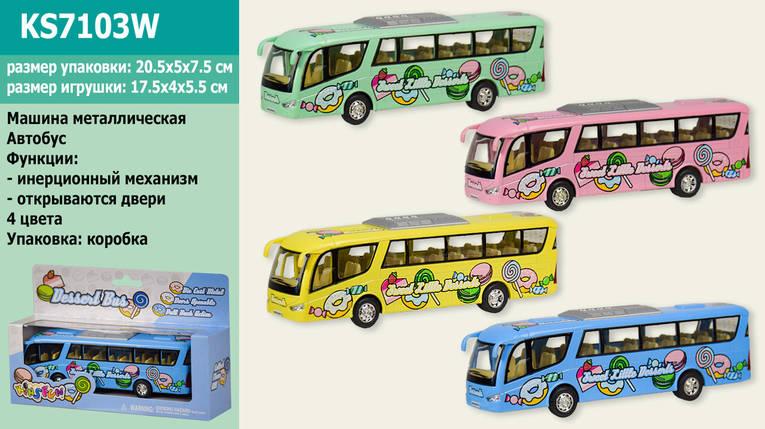 """Модель автобус 7"""" KS7103W Dessert Bus метал.инерц.откр.дв.кор.ш.к./72/, фото 2"""