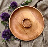 Деревянная менажница шашлычница с соусом D40 см.