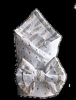 """Плед-конверт на выписку """"Золотые перья"""", фото 1"""