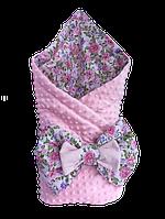 """Одеяло-конверт на выписку для новорожденных Солодкий Сон хлопок/плюш 80х100 см. """"Розы"""" Розовый"""