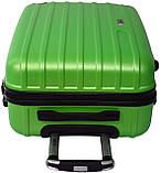 Чемодан пластиковый дорожний с четырьма поворотными колесиками маленький водонепроницаемый салатовый, фото 6