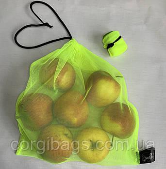 Экомешочки для продуктов, многоразовые мешочки из сетки, размер М (27х30), салатовый