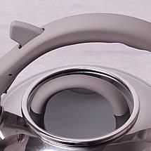 Чайник Kamille 2.8л из нержавеющей стали со свистком и стеклянной крышкой для индукции, фото 2