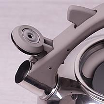 Чайник Kamille 2.8л из нержавеющей стали со свистком и стеклянной крышкой для индукции, фото 3