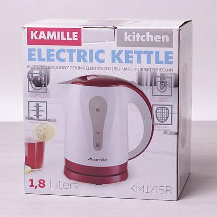 Чайник электрический Kamille 1.8л пластиковый (белый с красным), фото 2