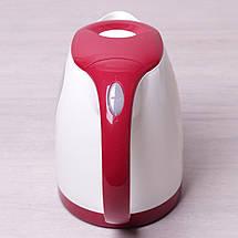 Чайник электрический Kamille 1.8л пластиковый (белый с красным), фото 3