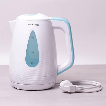 Чайник электрический Kamille 1.7л пластиковый (белый с голубым), фото 2