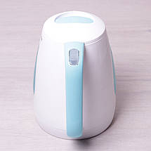 Чайник электрический Kamille 1.7л пластиковый (белый с голубым), фото 3