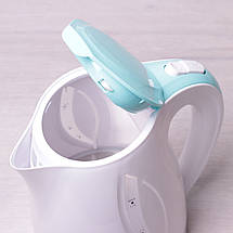 Чайник электрический Kamille 1.7л пластиковый (белый с бирюзовым), фото 2