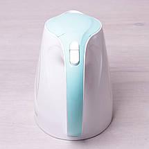 Чайник электрический Kamille 1.7л пластиковый (белый с бирюзовым), фото 3