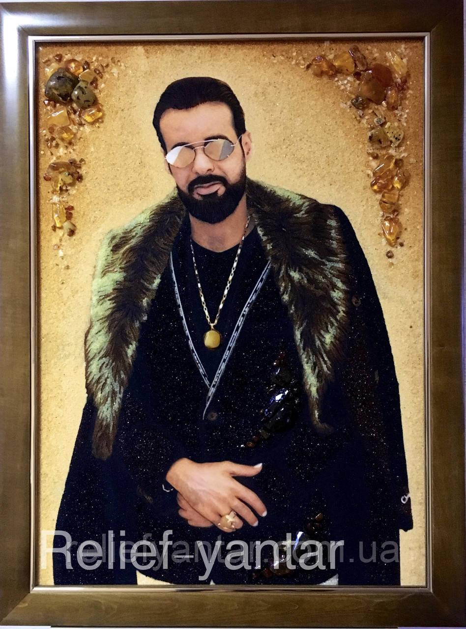 Портрет з янтаря по фотографії 60x80 см, портрет по фото