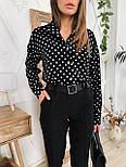 Жіночий брючний костюм: сорочка в горох і штани, фото 8